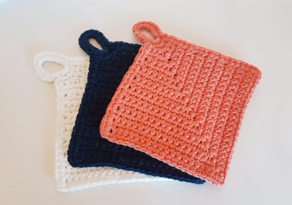 8-12 Trivet XL Woven Cotton Potholder Blues /& Yellow Hot Pad