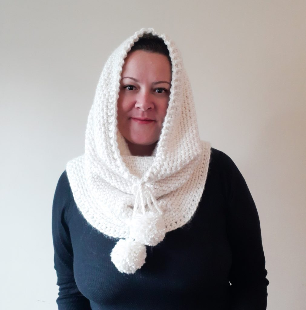 bufanda de crochet con capucha y capucha