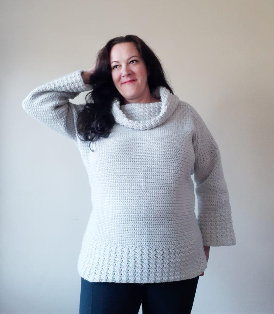 jersey de crochet con dobladillo de textura profunda