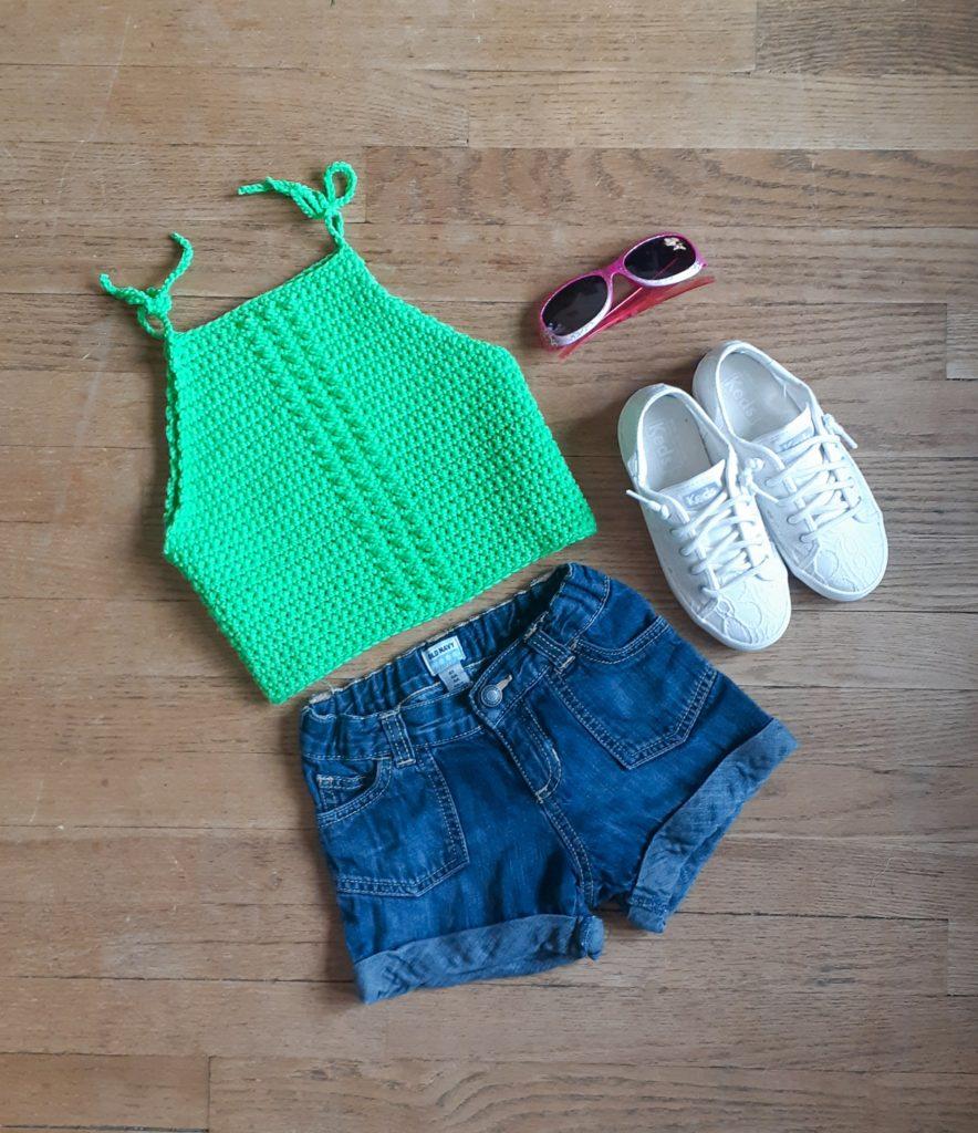 camiseta sin mangas de crochet para niños