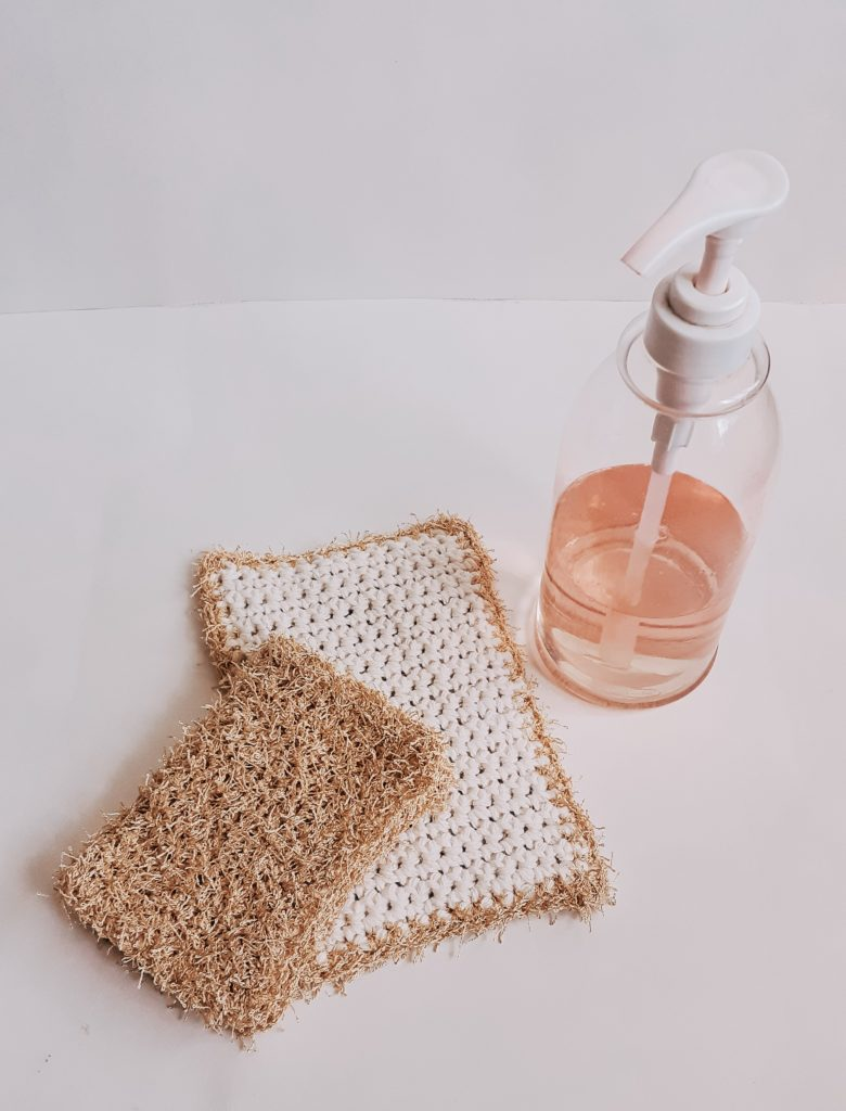 paño de lavado de crochet de doble cara